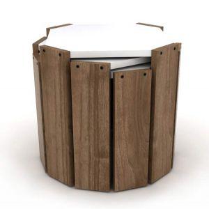 Set klub stolova HANSEL (Orah/bijela)