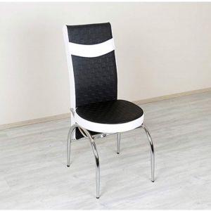 Trpezarijska stolica MERCAN eko koža (crno/bijela)