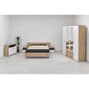 Spavaće Sobe LEO ormar sa ogledalom + krevet + komoda + 2xnoćnik